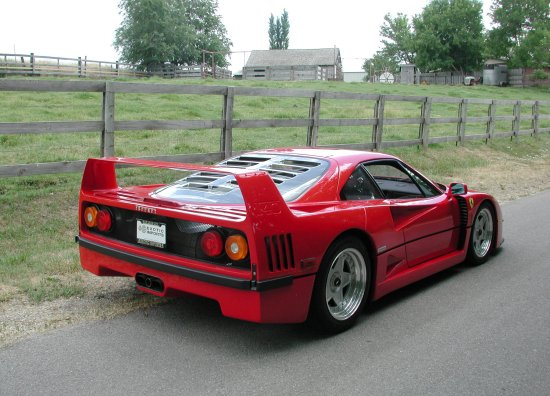1992 Ferrari F40 Rosso Corsa Rear and side